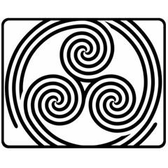 Triple Spiral Triskelion Black Double Sided Fleece Blanket (medium)  by Mariart