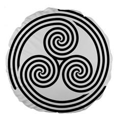 Triple Spiral Triskelion Black Large 18  Premium Flano Round Cushions by Mariart