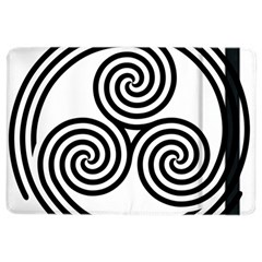 Triple Spiral Triskelion Black Ipad Air 2 Flip by Mariart