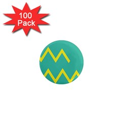 Waves Chevron Wave Green Yellow Sign 1  Mini Magnets (100 Pack)  by Mariart