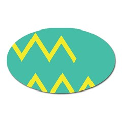 Waves Chevron Wave Green Yellow Sign Oval Magnet by Mariart