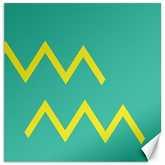 Waves Chevron Wave Green Yellow Sign Canvas 16  X 16   by Mariart