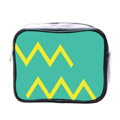 Waves Chevron Wave Green Yellow Sign Mini Toiletries Bags by Mariart