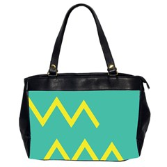 Waves Chevron Wave Green Yellow Sign Office Handbags (2 Sides)  by Mariart