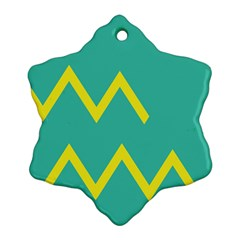 Waves Chevron Wave Green Yellow Sign Snowflake Ornament (two Sides) by Mariart