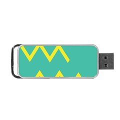Waves Chevron Wave Green Yellow Sign Portable Usb Flash (two Sides) by Mariart