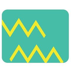 Waves Chevron Wave Green Yellow Sign Double Sided Flano Blanket (medium)  by Mariart