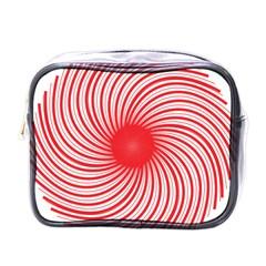 Spiral Red Polka Star Mini Toiletries Bags by Mariart