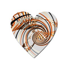Splines Line Circle Brown Heart Magnet by Mariart