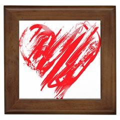 Valentines Day Heart Modern Red Polka Framed Tiles by Mariart