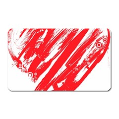 Valentines Day Heart Modern Red Polka Magnet (rectangular) by Mariart