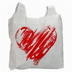 Valentines Day Heart Modern Red Polka Recycle Bag (two Side)  by Mariart