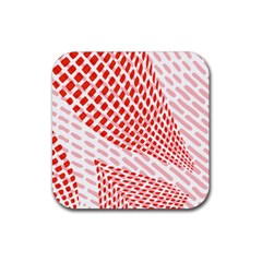 Waves Wave Learning Connection Polka Red Pink Chevron Rubber Square Coaster (4 Pack)  by Mariart