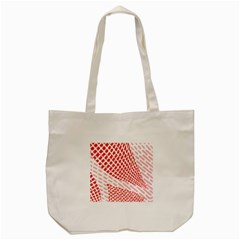 Waves Wave Learning Connection Polka Red Pink Chevron Tote Bag (cream) by Mariart