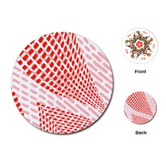 Waves Wave Learning Connection Polka Red Pink Chevron Playing Cards (round)  by Mariart