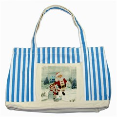 Funny Santa Claus With Snowman Striped Blue Tote Bag by FantasyWorld7