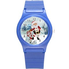 Funny Santa Claus With Snowman Round Plastic Sport Watch (s) by FantasyWorld7