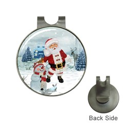 Funny Santa Claus With Snowman Hat Clips With Golf Markers by FantasyWorld7