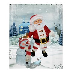 Funny Santa Claus With Snowman Shower Curtain 60  X 72  (medium)  by FantasyWorld7