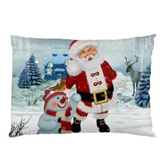 Funny Santa Claus With Snowman Pillow Case (two Sides) by FantasyWorld7