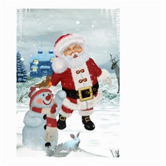 Funny Santa Claus With Snowman Small Garden Flag (two Sides) by FantasyWorld7