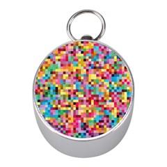 Mosaic Pattern 2 Mini Silver Compasses by tarastyle