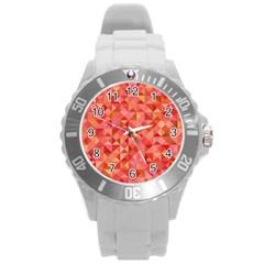 Mosaic Pattern 6 Round Plastic Sport Watch (l) by tarastyle