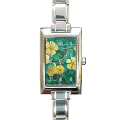 Yellow Flowers At Nature Rectangle Italian Charm Watch by dflcprints