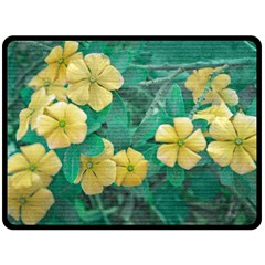 Yellow Flowers At Nature Double Sided Fleece Blanket (large)  by dflcprints