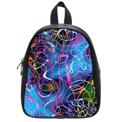 Background Chaos Mess Colorful School Bag (small) by Nexatart