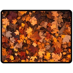 Fall Foliage Autumn Leaves October Fleece Blanket (large)  by Nexatart