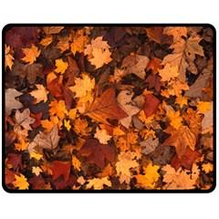 Fall Foliage Autumn Leaves October Fleece Blanket (medium)  by Nexatart