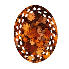 Fall Foliage Autumn Leaves October Oval Filigree Ornament (two Sides) by Nexatart