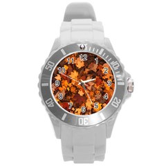 Fall Foliage Autumn Leaves October Round Plastic Sport Watch (l) by Nexatart