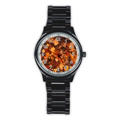 Fall Foliage Autumn Leaves October Stainless Steel Round Watch by Nexatart