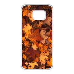 Fall Foliage Autumn Leaves October Samsung Galaxy S7 Edge White Seamless Case by Nexatart