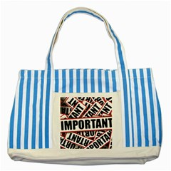Important Stamp Imprint Striped Blue Tote Bag by Nexatart