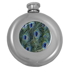 Peacock Feathers Blue Bird Nature Round Hip Flask (5 Oz) by Nexatart