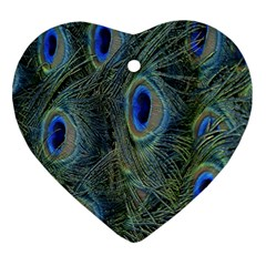 Peacock Feathers Blue Bird Nature Heart Ornament (two Sides) by Nexatart