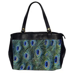 Peacock Feathers Blue Bird Nature Office Handbags (2 Sides)  by Nexatart