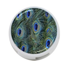 Peacock Feathers Blue Bird Nature 4 Port Usb Hub (two Sides)  by Nexatart