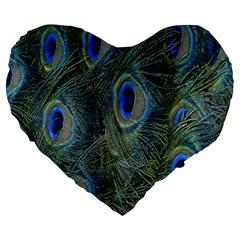 Peacock Feathers Blue Bird Nature Large 19  Premium Heart Shape Cushions by Nexatart