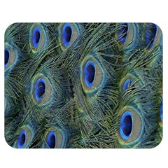 Peacock Feathers Blue Bird Nature Double Sided Flano Blanket (medium)  by Nexatart