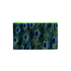 Peacock Feathers Blue Bird Nature Cosmetic Bag (xs) by Nexatart