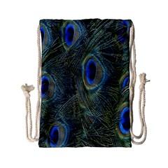 Peacock Feathers Blue Bird Nature Drawstring Bag (small) by Nexatart