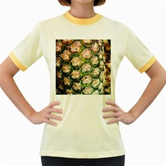 Pineapple Texture Macro Pattern Women s Fitted Ringer T Shirts by Nexatart