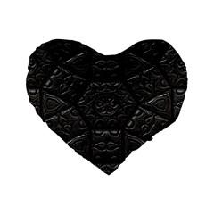 Tile Emboss Luxury Artwork Depth Standard 16  Premium Flano Heart Shape Cushions by Nexatart