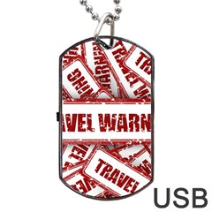 Travel Warning Shield Stamp Dog Tag Usb Flash (two Sides) by Nexatart
