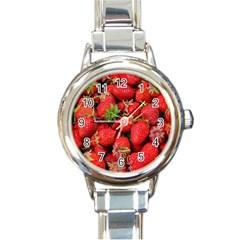 Strawberries Berries Fruit Round Italian Charm Watch by Nexatart