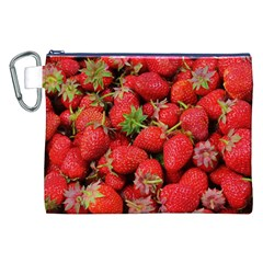 Strawberries Berries Fruit Canvas Cosmetic Bag (xxl) by Nexatart